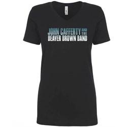 John Cafferty - Womens Classic Logo Black V-Neck T-Shirt