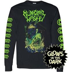 Municipal Waste - Mens Glow Shark Black Long Sleeve T-Shirt