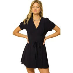 Hyfve - Womens Puff Sleeve Wrap With Side Button Detail Dress