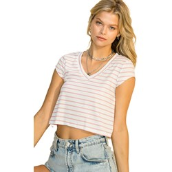Hyfve - Womens Stripe Ribbed V Neck Short Sleeve Top