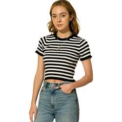 Hyfve - Womens Stripe Lettuce Edge Crop Knit Top