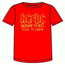 Ac/Dc - Highway To Hell 79 Adult T-Shirt In Red