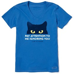 Life Is Good - Womens Short Sleeve Crusher Vee Pay Attention Cat T-Shirt