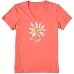 Life Is Good - Womens Short Sleeve Crusher Vee Super Daisy T-Shirt