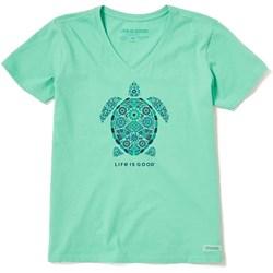 Life Is Good - Womens Short Sleeve Crusher-Lit Turtle Mosaic T-Shirt