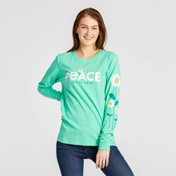 Life Is Good - Womens Peace Daisies Crusher Long Sleeve