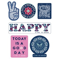 Life Is Good - Six-Pack Stick Happy Pack Stickers