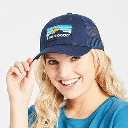 Life Is Good - Unisex Hard Back Mountain Patch Mesh Hat
