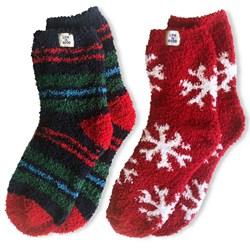 Life Is Good - Unisex Snuggle 2 Pack Snowflakes / Stripes Snuggle Socks