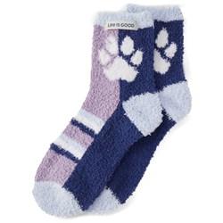 Life Is Good - Womens Snuggle Paw Print Snuggle Socks