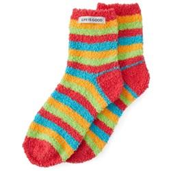 Life Is Good - Womens Snuggle Rainbow Stripes Snuggle Socks