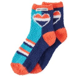 Life Is Good - Womens Snuggle Stripe Heart Snuggle Socks