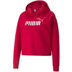 Puma - Womens Ess+ Cropped Metallic Logo Fl Hoodie