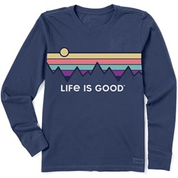 Life Is Good - Womens Long Sleeve Crusher Cre Retro Mountain St T-Shirt