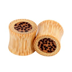 Solid Two Tone Sandalwood w/Speckled Center Double Flared Plug