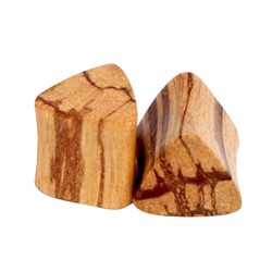 Solid Triangle Natural Double Flared Wood Plug