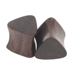 Solid Triangle Dark Cherry Double Flared Wood Plug