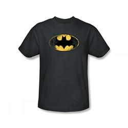 Batman - Destroyed Batman Logo Slim Fit Adult T-Shirt In Charcoal
