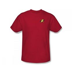 Batman - Robin Logo Slim Fit Adult T-Shirt In Red