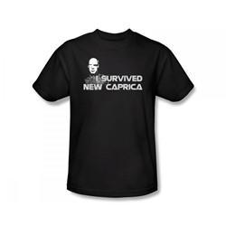 Battlestar Galactica - I Survived New Caprica Slim Fit Adult T-Shirt In Black