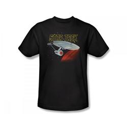 Star Trek: The Animated Series - Retro Enterprise Slim Fit Adult T-Shirt In Black