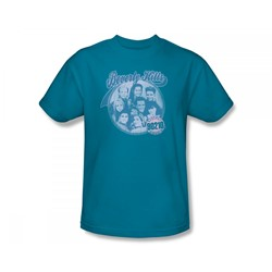 Beverly Hills 90210 - Circle Of Friends Slim Fit Adult T-Shirt In Turquoise