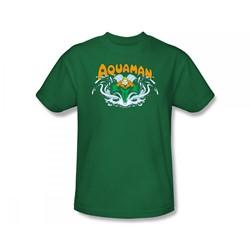 Aquaman - Aquaman Splash Slim Fit Adult T-Shirt In Kelly Green