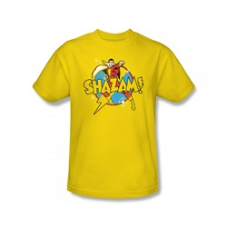 Shazam Power Bolt Adult S/S T-shirt in Yellow by DC Comics