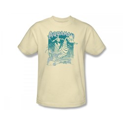 Aquaman - Catch A Wave Slim Fit Adult T-Shirt In Cream