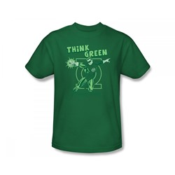 Green Lantern - Think Green Slim Fit Adult T-Shirt In Kelly Green