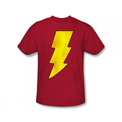 Shazam - Shazam Logo Distressed Slim Fit Adult T-Shirt In Red