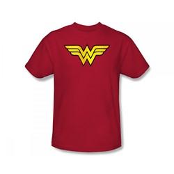 Wonder Woman - Ww Logo Distressed Slim Fit Adult T-Shirt In Red