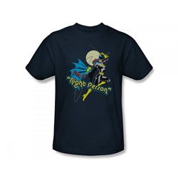 Batgirl - Night Person Slim Fit Adult T-Shirt In Navy
