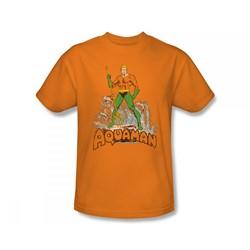 Aquaman - Aquaman Distressed Slim Fit Adult T-Shirt In Orange
