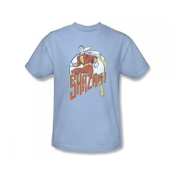 Shazam - Steppin' Out Slim Fit Adult T-Shirt In Light Blue