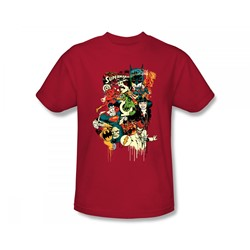 Dc Originals - Dripping Characters Slim Fit Adult T-Shirt In Red