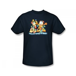 Garfield - Bright Holidays Adult T-Shirt In Navy