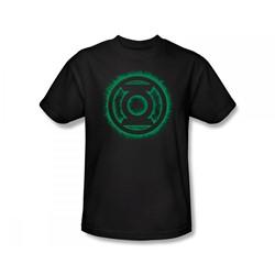 Green Lantern - Green Flame Logo Slim Fit Adult T-Shirt In Black