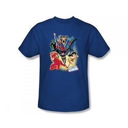 Justice League - Unlimited Slim Fit Adult T-Shirt In Royal