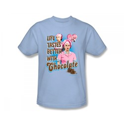 I Love Lucy - Better With Chocolate Slim Fit Adult T-Shirt In Light Blue