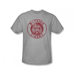 Saved By The Bell - Bayside Tigers Distressed Slim Fit Adult T-Shirt In Heather