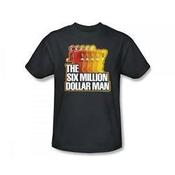 The Six Million Dollar Man - Fast Run Slim Fit Adult T-Shirt In Charcoal