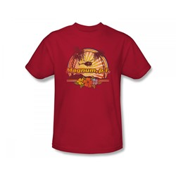 Magnum P.I. - Hawaiian Sunset Slim Fit Adult T-Shirt In Red