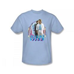Miami Vice - Miami Heat Slim Fit Adult T-Shirt In Light Blue