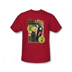 The Bionic Woman - Jamie And Max Slim Fit Adult T-Shirt In Red