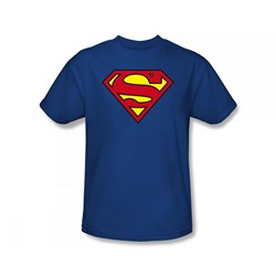 Superman - Classic Superman Logo Slim Fit Adult T-Shirt In Royal