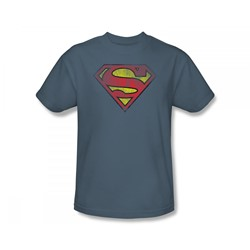 Superman - Inside Shield Adult T-Shirt In Slate