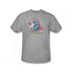 Superman - A Superman & His Dog Slim Fit Adult T-Shirt In Heather