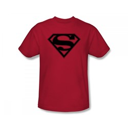 Superman - Red & Black Shield Adult T-Shirt In Red