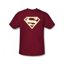 Superman - Crimson & Cream Shield Adult T-Shirt In Cardinal